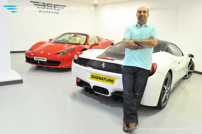 signature-car-hire-dee-bhatia-ferrari-458s-red&white