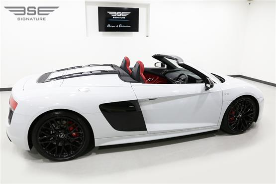 White Audi R8 V10 Spyder Right Roof Down View