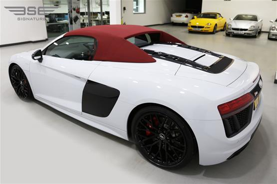White Audi R8 V10 Spyder Left Rear View