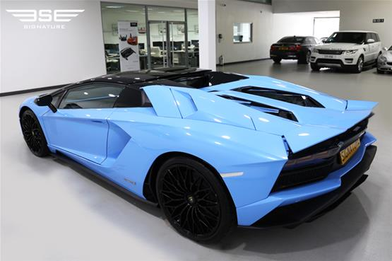 Lamborghini Aventador S Roadster hire car back side view