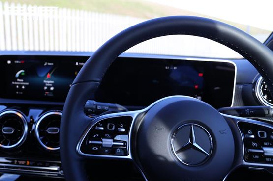 Mercedes A180 Sport Logo on Steering Wheel