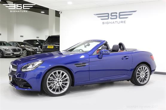 mercedes-SLC-250D-AMG-line-front-side-view-top-down